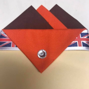 Brown & Orange Pocket Hankie With Orange Flap & Pin